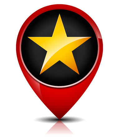eg: Glossy, Golden Star in red map marker. E.g. Favorite place, bookmark, premium concepts. Illustration