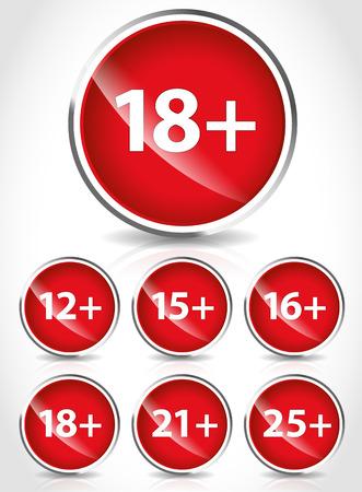 Age restriction signs   symbols Vector