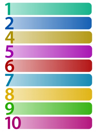 numbers clipart: Horizontal rectangles with numbers up to 10
