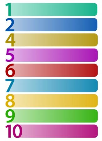 Rect�ngulos horizontales con n�meros hasta el 10 Vectores