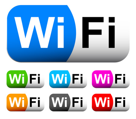 Set of Wifi badges, buttons
