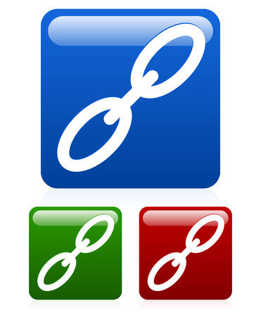 chain reaction: Chain, Link icon set colored version vector Illustration