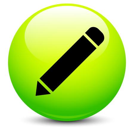 reviser: Ic�ne de crayon sur le vert orbe illustration. Illustration