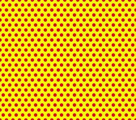 Estilo pop-art repetibles puntos rojos sobre fondo amarillo.