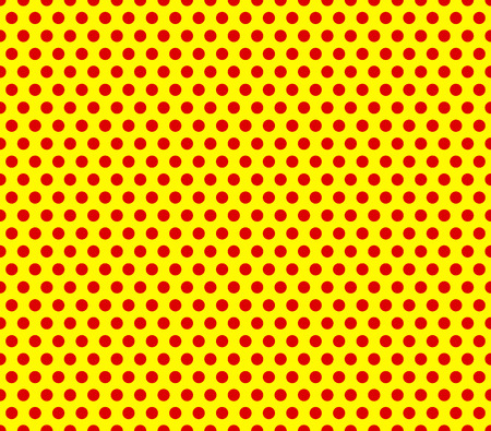 Pop-art stijl herhaalbare rode stippen op gele achtergrond.
