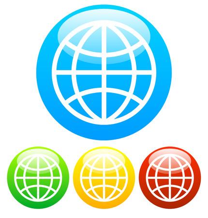 wireframe globe: Wireframe globe icon set stock vector