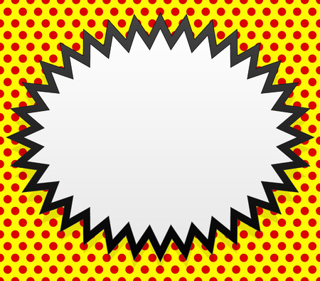 Pop-art style badge on repeatable dotted background.