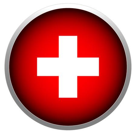 rood teken: Rode kruis in bol stock illustratie.