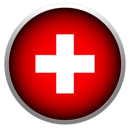 Red cross in sphere stock illustration.