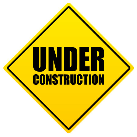 Bold under construction text on yellow sign Vector