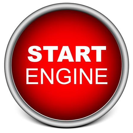 Red Start Engine knop op wit wordt geïsoleerd