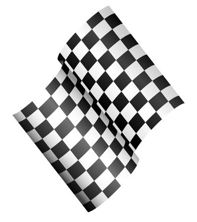 Checkered 3d Flag, championship, finishing line concept vector illustration. Vector