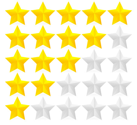 appraise: Rating, Stars, Five star, Evaulation, Classification, feedback, quality vector illustration  design element