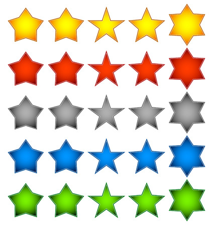 Different star shapes in yellow  orange , red, grey, blue and green color  Vector