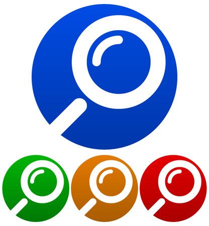 Simboli lente di ingrandimento tagliati in cerchi