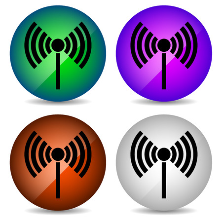 wireless connection: Radio tower, radio transmission, wireless connection, antenna, transmitter icons vector elements. Illustration