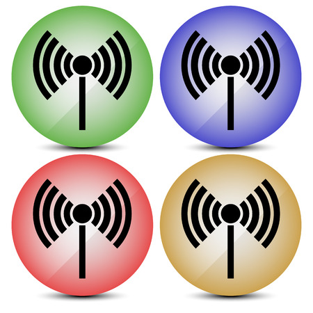 access point: Radio tower, radio transmission, wireless connection, antenna, transmitter icons vector elements. Illustration