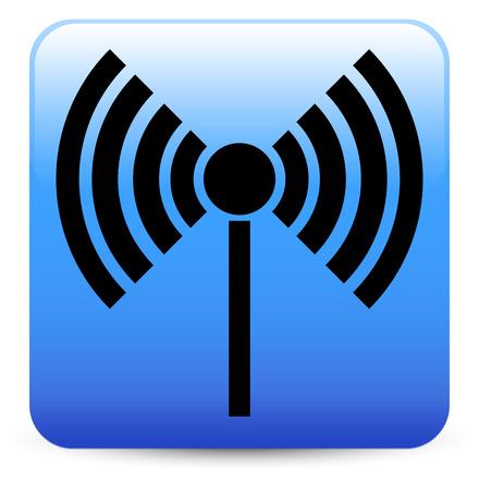 echo: Radio tower, radio transmission, wireless connection, antenna, transmitter icons vector elements. Illustration