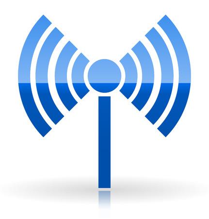Radio tower, radio transmission, wireless connection, antenna, transmitter icons vector elements. Illustration