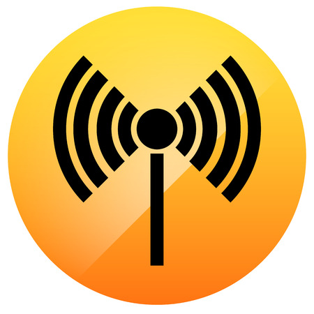 Radio tower, radio transmission, wireless connection, antenna, transmitter icons vector elements. Vector