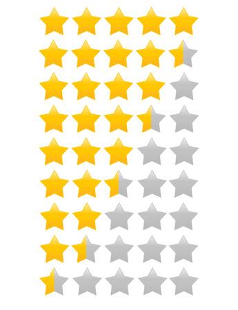 Star rating met een halve ster increment