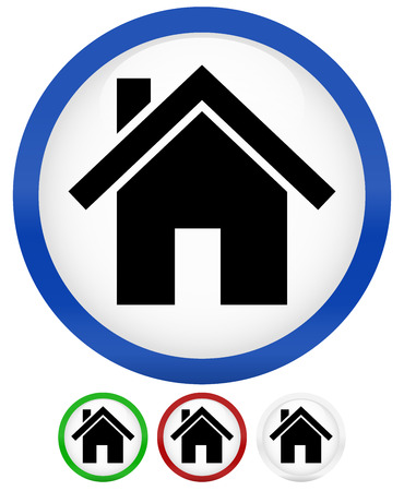 realstate: House Icon in blue, green, red, grey colors  Illustration