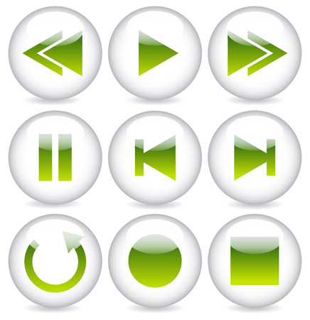Green glossy playback, audio, multimedia button set on circles. Vector