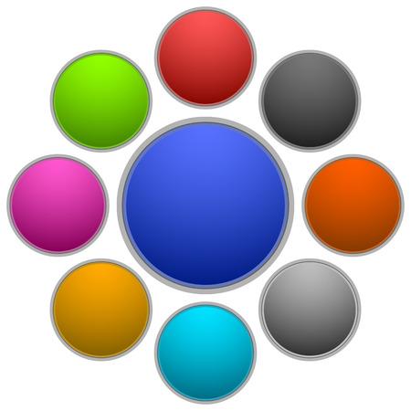 verde y morado: Conjunto c�rculo blanco, esfera, elementos de dise�o en negro, colores verde, morado, amarillo, cian, gris, terracota roja.