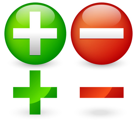 Add, delete, plus, minus sign glossy vector elements.  Vector