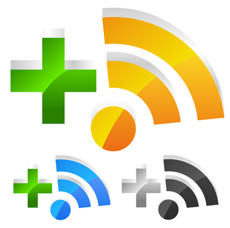 Rss with plus sign. Blogging, RSS feed icon. Vector
