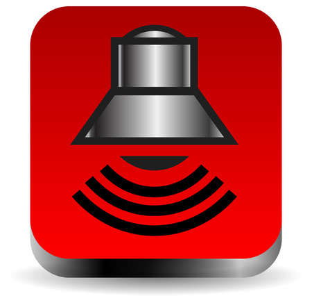 alertness: Metallic peaker, alarm bell symbol on red square. Music, alertness, sound icon in vector format.