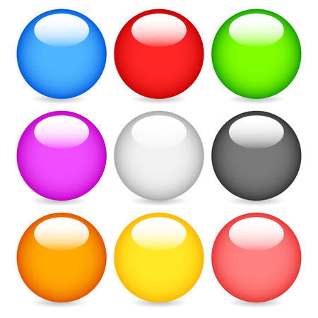 Colorful, blank sphere, circle design elements with gloss vector illustration. Vector