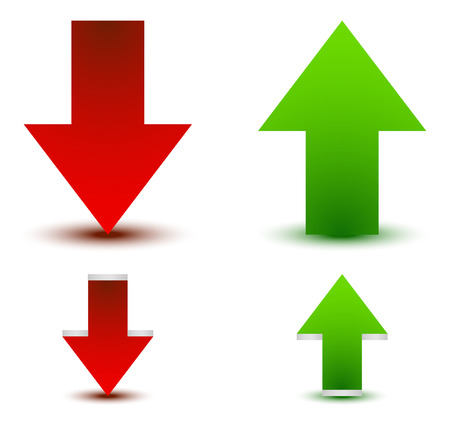 up and down: Green, red arrow up, down