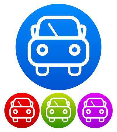 windshield wiper: Cute car symbol on colored circles