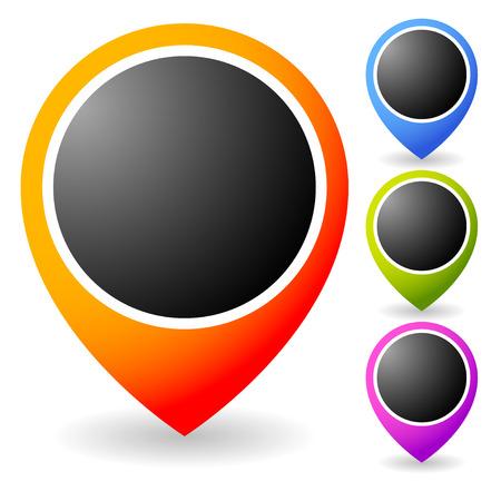 Set of vivid map marker, map pin, abstract thumbtack Vector
