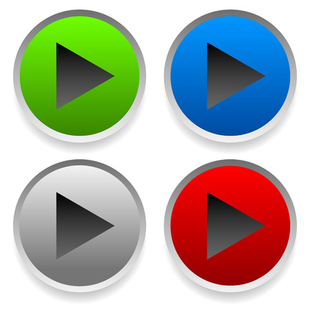 Modern play buttons, right arrows on circles with masked shadow