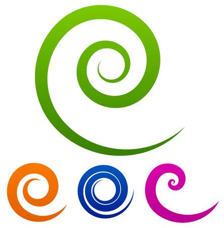 Colorful spiral set Ilustração