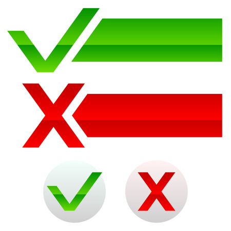 Checkmark and cross, buttons and banners Vector