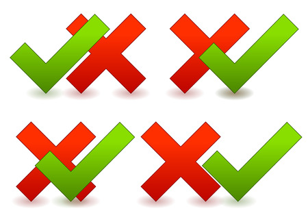 yes no: Checkmark and cross composition