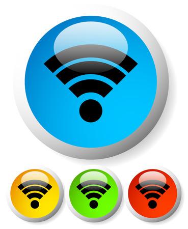wireless hot spot: Glossy signal buttons Illustration