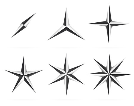 3d shapes, 3,4,5 pointed beveled stars