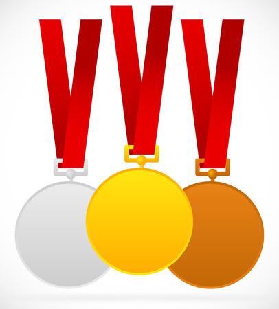 1 place: Oro, plata, medallas de bronce con la cinta roja Vectores