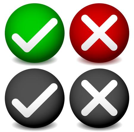 denial: Checkmark and cross symbol on sphere