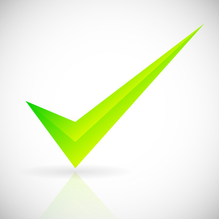 green tick: A Bright checkmark with bevel effect