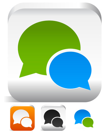 Set of speech bubble icons in different colors  Support, conversation, discussion, chat, dialog concepts   Vector