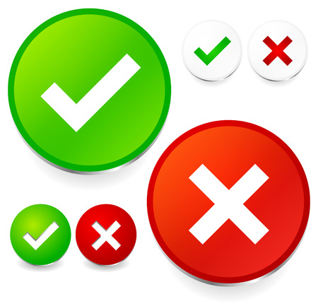 refuse: Checkmark and cross set  Correct, wrong, test, quality control, validation, accept, refuse concepts