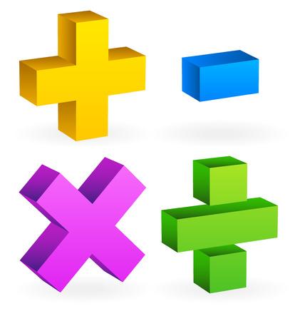 addition: Math, mathematics symbol  Calculation, calculator concept  Plus, minus,division, multiplication signs, symbols