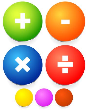 Math, mathematics symbol  Calculation, calculator concept  Plus, minus,division, multiplication signs, symbols  Vector