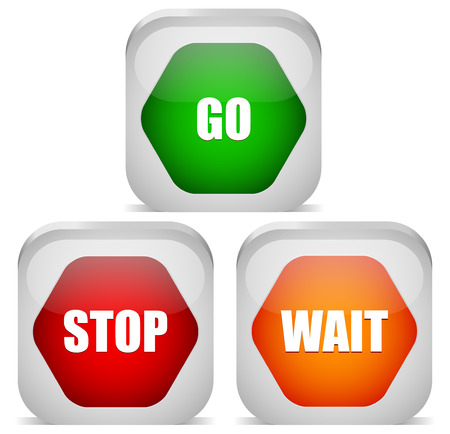 Go, Stop, Wait signs, Traffic, control signs. Vector