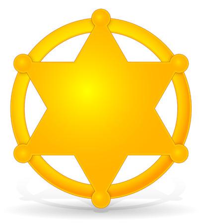 Sheriffs star, badge with shadow
